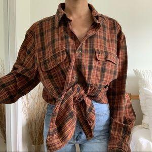 Vintage Carhartt Flannel Button Down Fall Shirt
